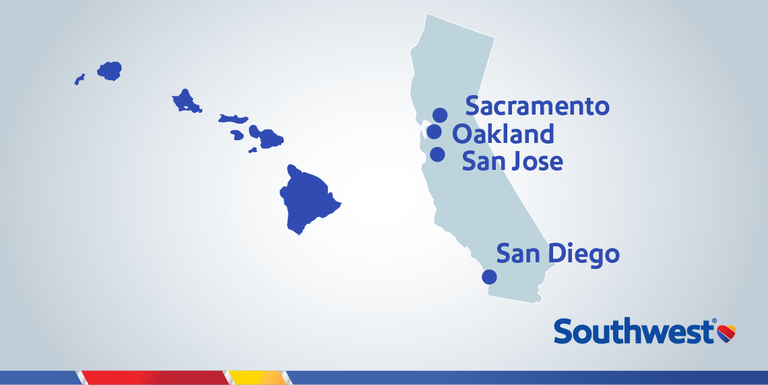 Southwest Airlines California gateway cities for Hawaii service.